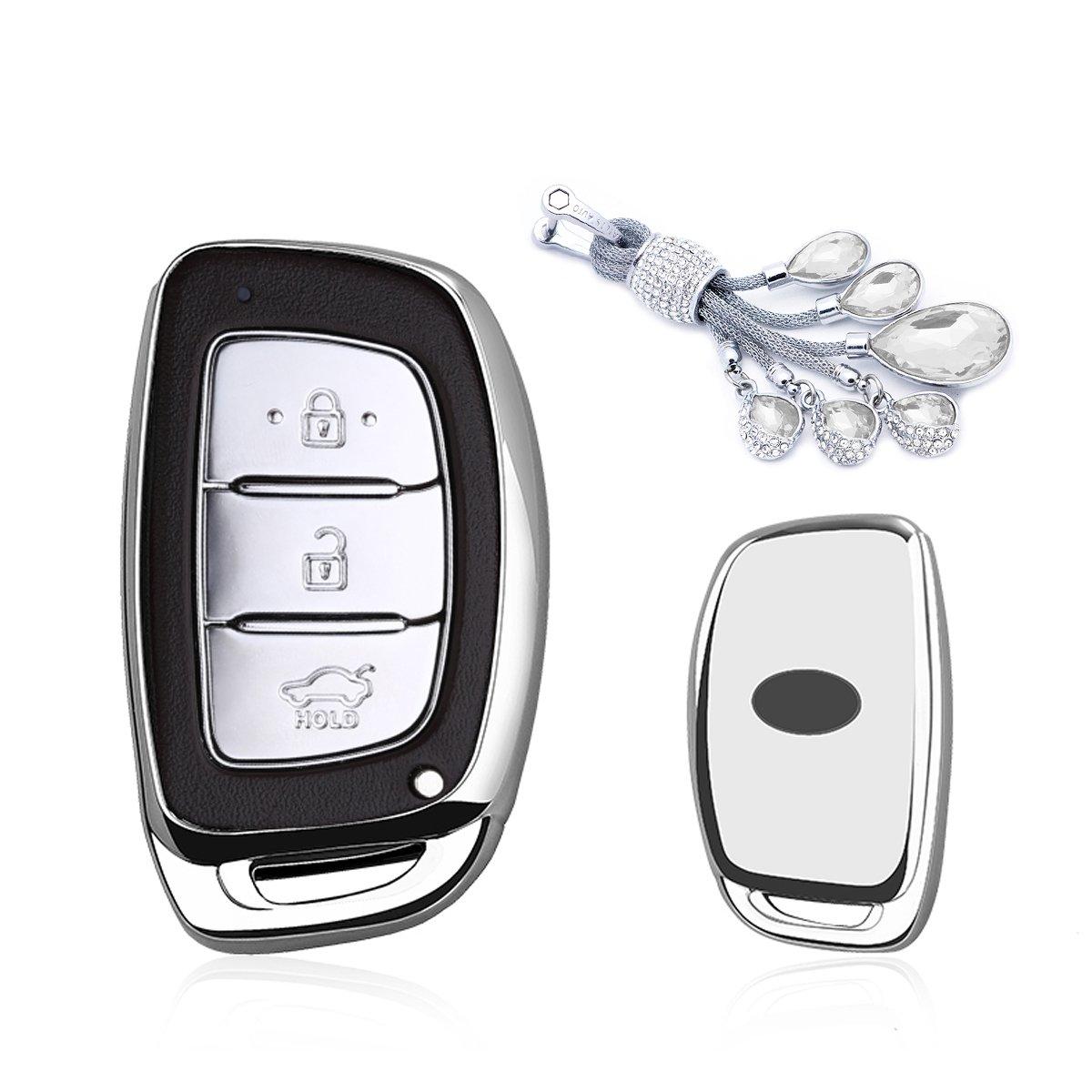 カイゼンキーレスエントリーリモートキーFobカバーソフトTPUケースwithダイヤモンドタッセルキーチェーン用ヒュンダイエラントラSonata Avanteアクセントix35 Verna Solaris 3-buttonsスマートキー Smart key cover+tassel keychain シルバー TPUKC468 B07CNMJKHC  シルバー Smart key cover+tassel keychain