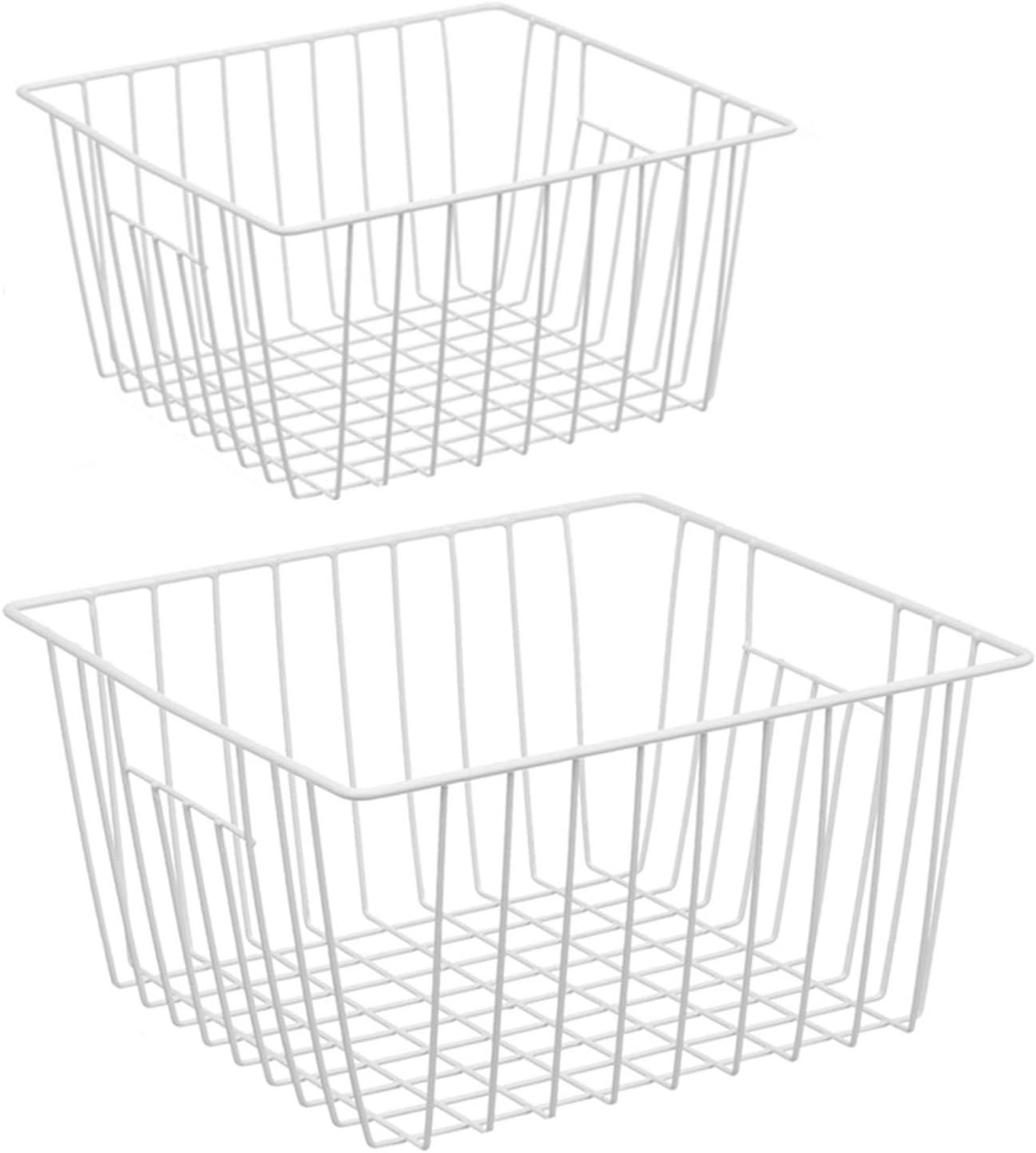 iPEGTOP Freezer Storage Organizer Basket, Wire Food Organizers Basket, Household Bin Basket with Handles for Kitchen Cabinets, Pantry,Freezer, Bathroom, Closets, Set of 2