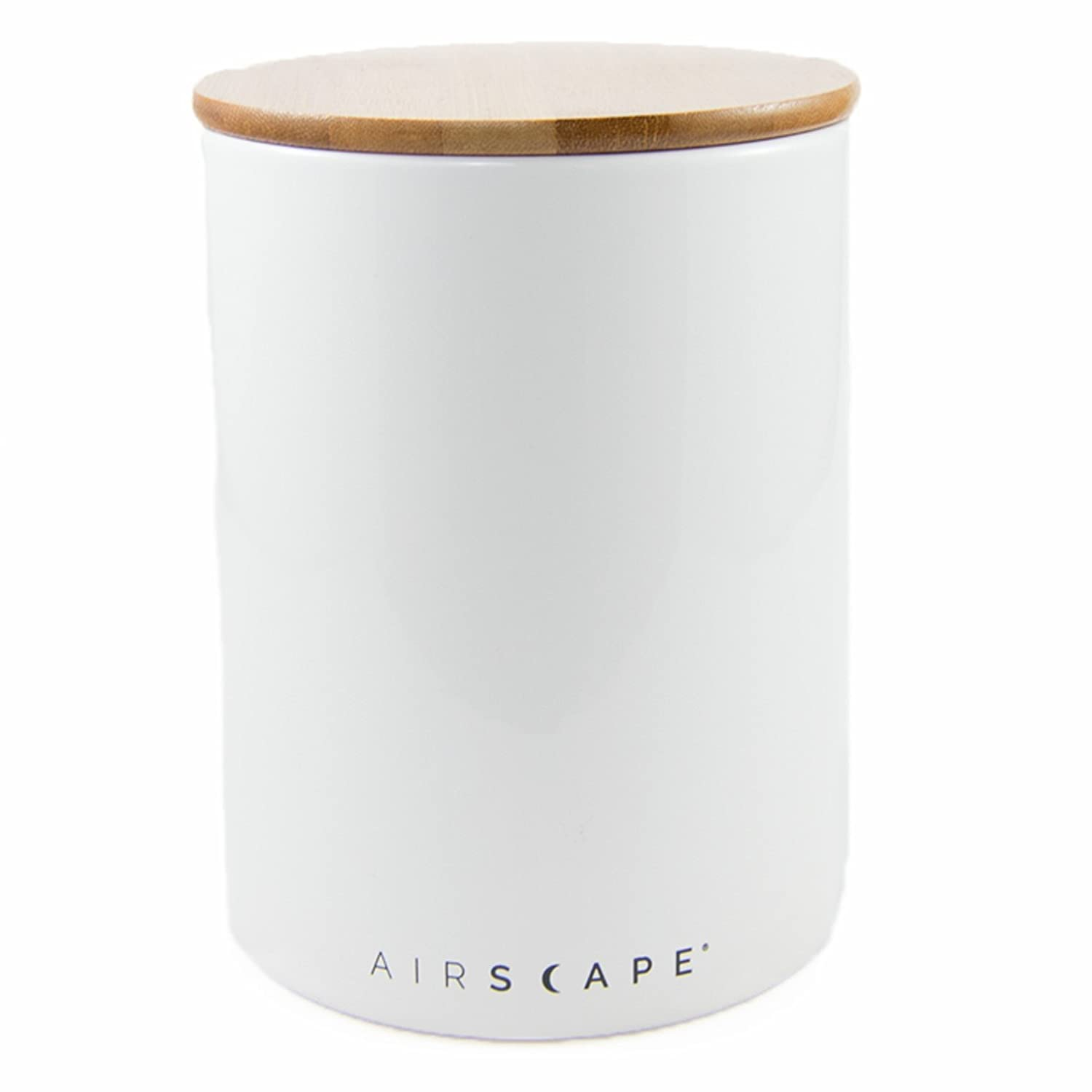 "Airscape Ceramic and Food Storage Canister, 7"" Large - Patented Airtight Inner Lid Preserves Food Freshness - Glazed Ceramic with Bamboo Top - Snowflake White"