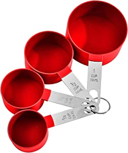 YUZI 4 Pieces Plastic Measuring Cups Set with Stainless Steel Handles, Stackable Measuring Set for Cooking & Baking
