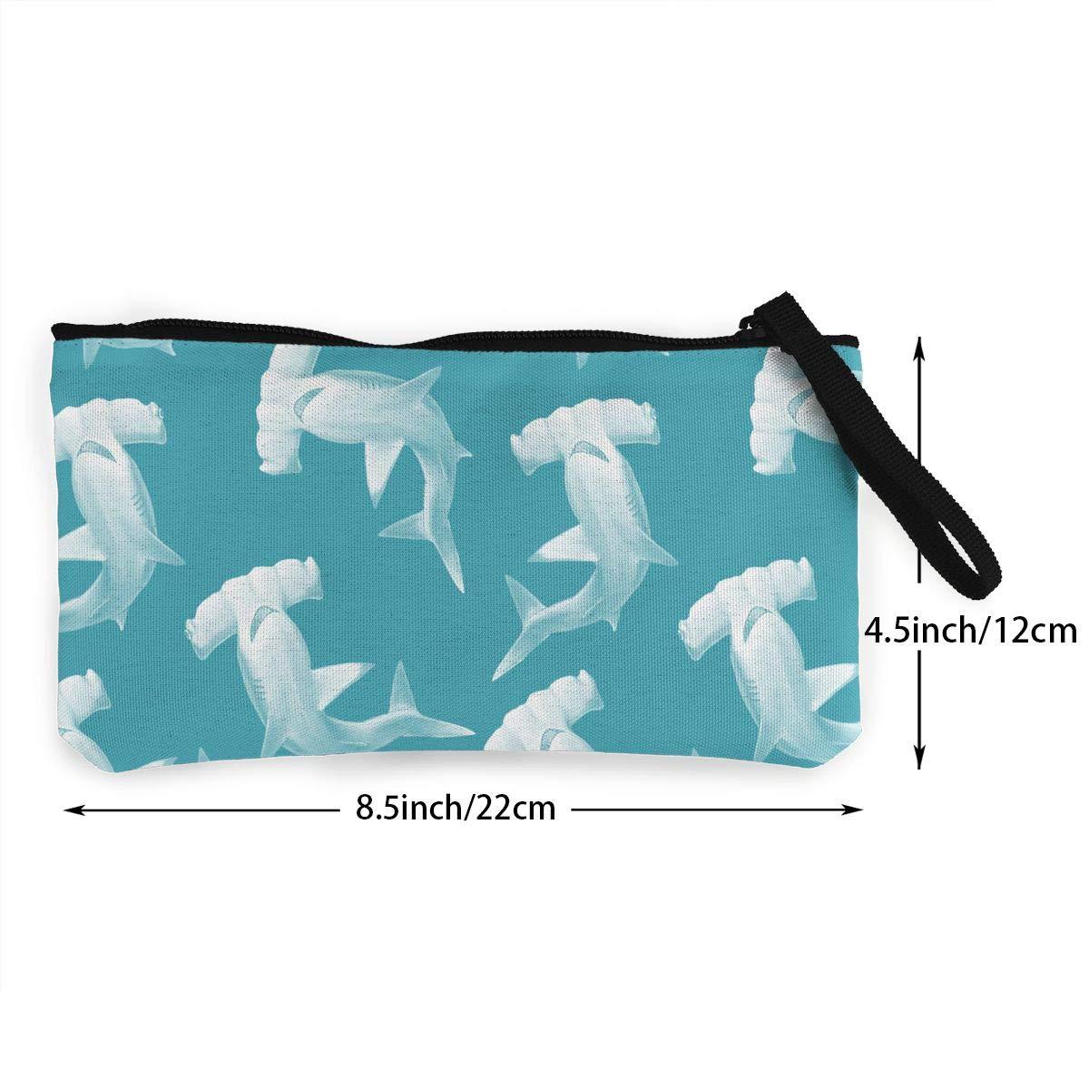 Bk55Oi/&/& Womens Fashion Purse Hammerhead Shark Pattern Canvas Makeup Bag with Zipper for Women