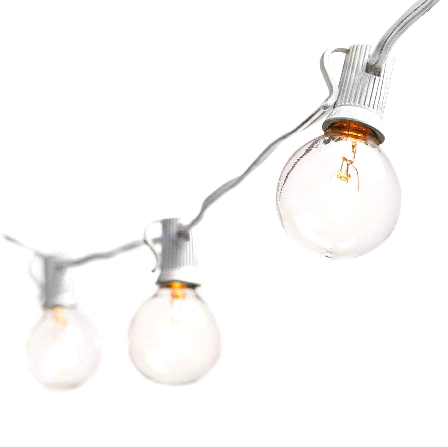 Goothy Globe String Lights with G40 Bulbs (25ft.) UL Listed Backyard Patio Lights Garden Bistro Party Natural Warm Bulbs Cafe Hanging Umbrella Lights on Light String Indoor Outdoor-White