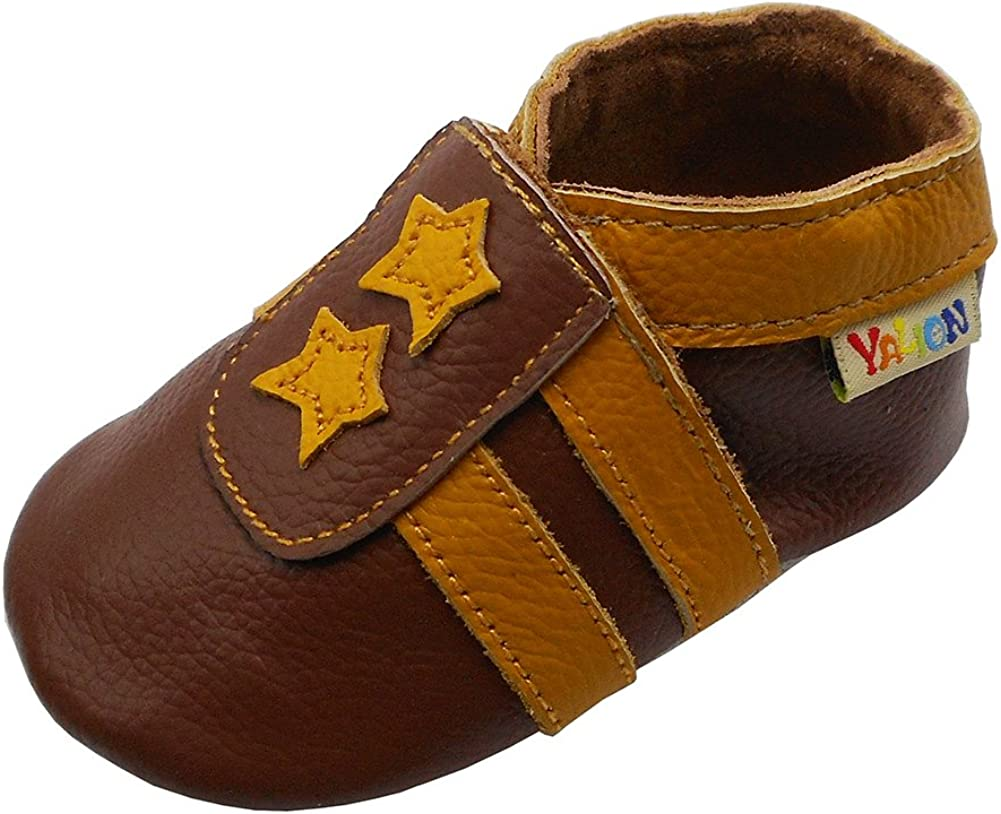 YALION Baby Soft Leather Shoes with Suede Sole Anti-Slip Infant Toddler First Walking Crib Moccasins