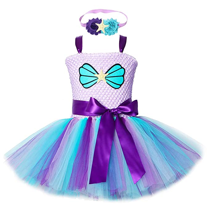 Amazon.com: Vestido de tutú de sirena para niñas de ...