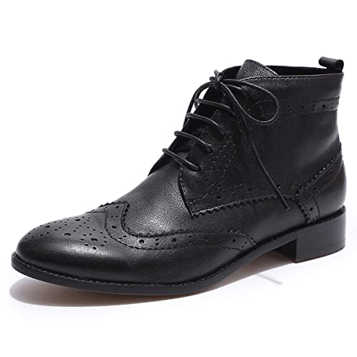 4c9efdc7a70e Mona flying Womens Leather Wingtip Boots Ankle Heels Fashion Lace up  Booties with Low Heel Black: Amazon.ca: Shoes & Handbags