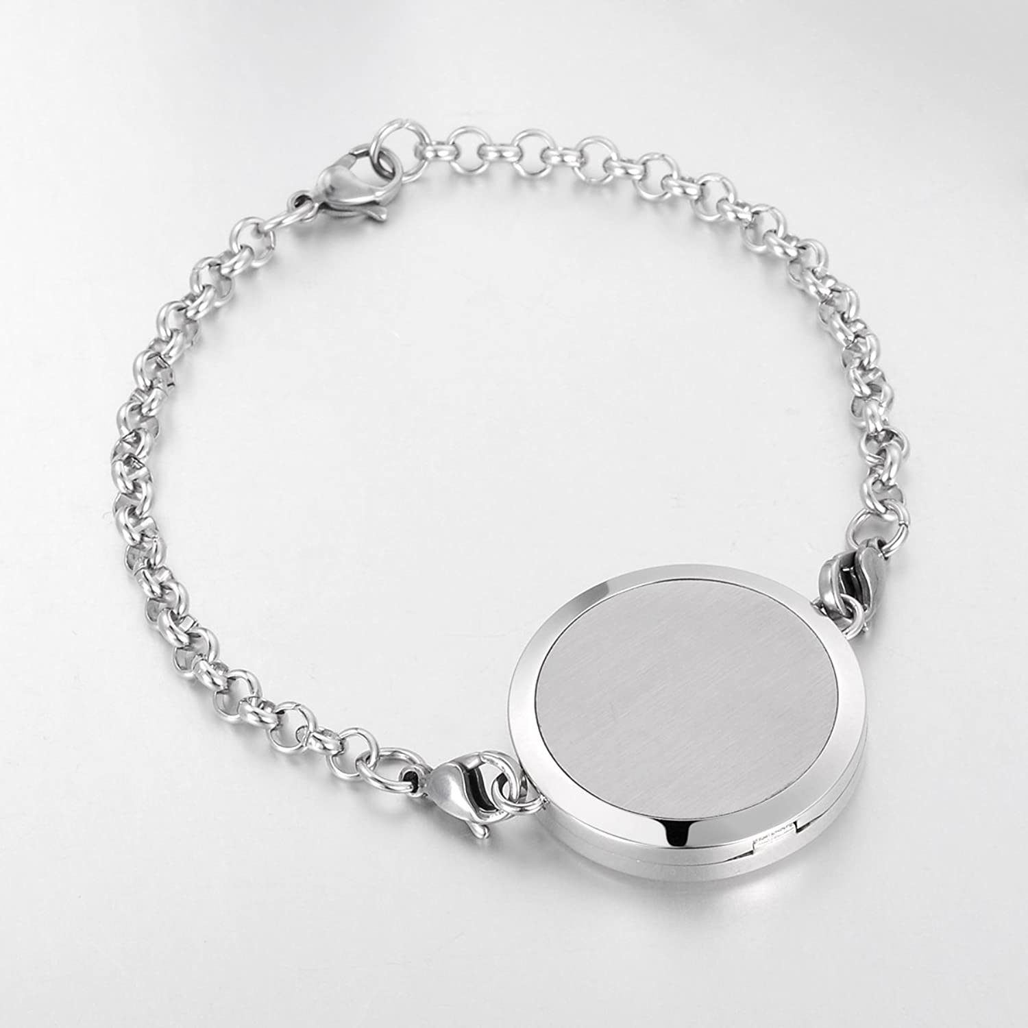 Valyria Aromatherapy Essential Oil Diffuser Bracelet, Lucky Cloud, Silver Stainless Steel