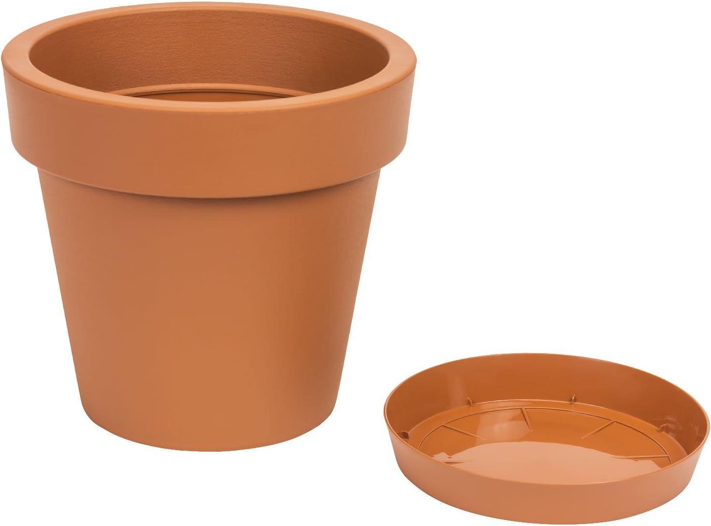 0,1 l FairFox Petit pot de fleurs moderne avec soucoupe et drainage en plastique 100 /% recycl/é Anthracite, 3 l /Économie dhuile brute