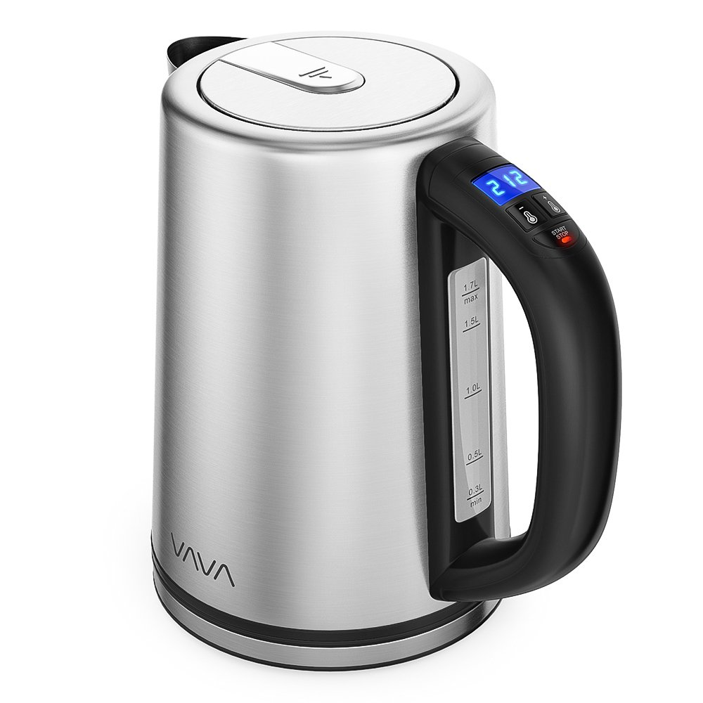 Electric Kettle, VAVA Real-Time LED Display Tea Kettle with Temperature Control, 1.7L Stainless Steel Fast Boiling Hot Water Kettle, 2H Keep Warm & Memory Function