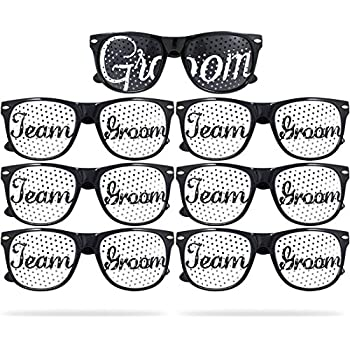 ace7839ecc Team Groom Party Glasses - Novelty Sunglasses For Weddings and Bachelor  Parties - Fun Photo Props (7pc Set, Black)
