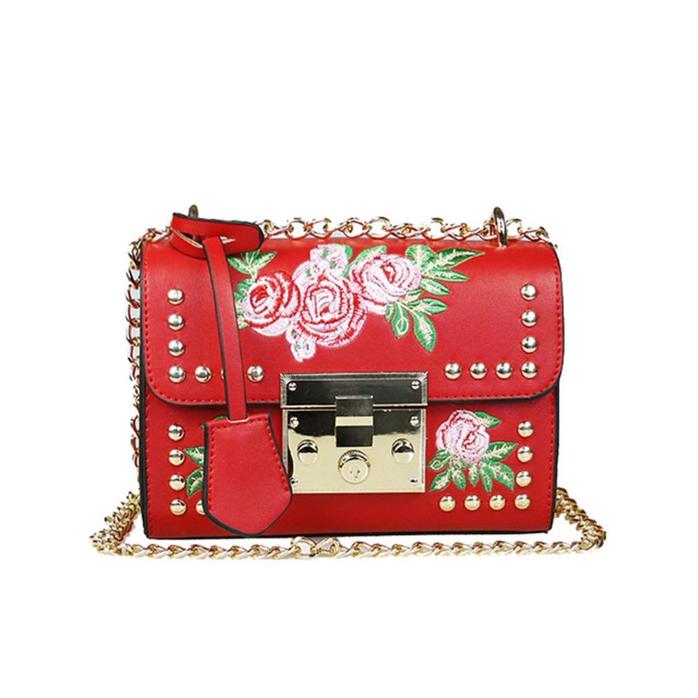 Women Embroidery Flower Flap Bag PU Leather Fashion Rivet Messenger Bags Ladies Small Shoulder Bag Sac red: Handbags: Amazon.com