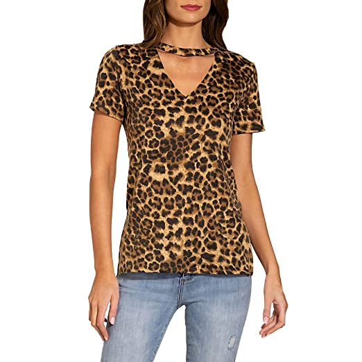 76ee1466 Blouse, Snowlily Fashion Women's V-Neck Short-Sleeved Shirt Leopard ...