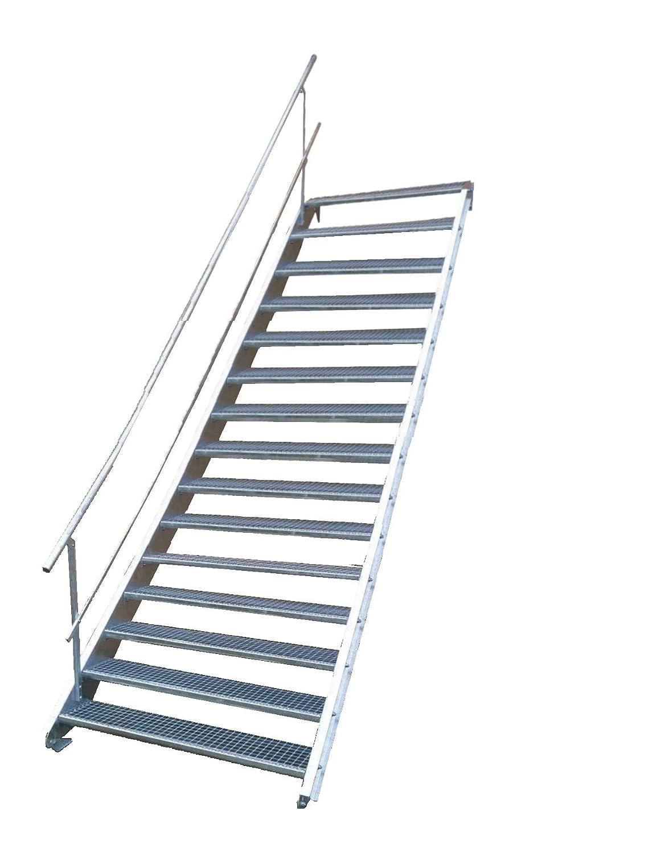 Stahltreppe Industrietreppe Aussentreppe Treppe 15 Stufen-Breite 70cm Variable Geschosshö he 250-320cm mit einseitigem Gelä nder Tailor Made Metal GmbH