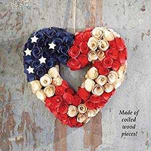 """13"""" Country Patriotic Americana Heart Shape Wooden Rose Wreath Decoration 35"""