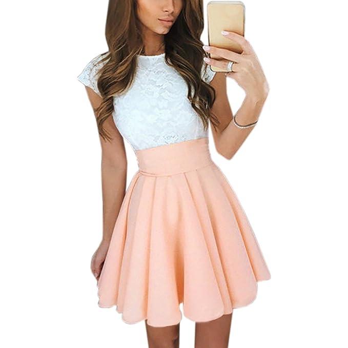 Amazon.com: Supo-Dre Summer Women Lace Kawaii Dress Beach Cute Flare Dresses Mini A Line Party Dress Vestidos Robe Femme: Clothing