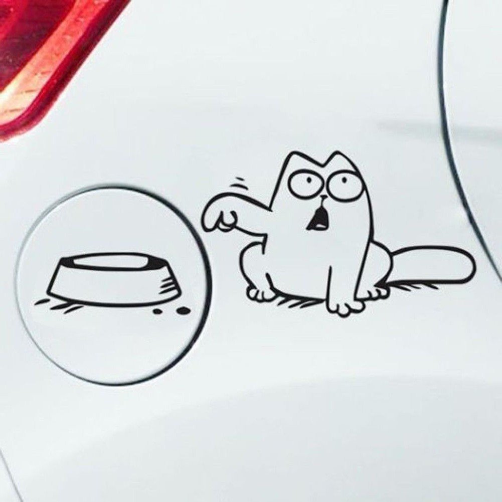 Autoaufkleber Cat Tankdeckel Futternapf Katze versch. Farben (Schwarz) Fanny´s