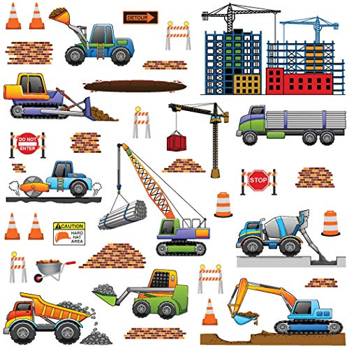 treepenguin Construction Trucks Wall Decals for Kids Rooms - Transportation Vehicles Work Site Wall Stickers for Boys Bedroom Playroom and - Wall Dump Truck