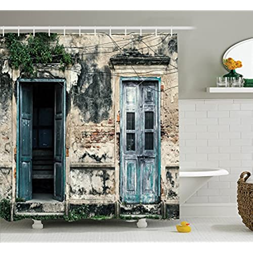 Ambesonne Rustic Decor Shower Curtain Doors of An Old Rock House with French Frame Details in Countryside European Past Theme Fabric Bathroom Set with ... & Country Door Decor: Amazon.com