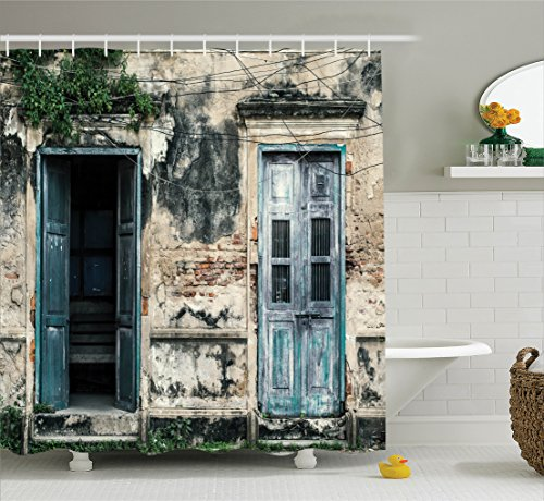 Rustic Decor Shower Curtain by Ambesonne, Doors of An Old Rock House with French Frame Details in Countryside European Past Theme, Fabric Bathroom Set with Hooks, 69W X 70L Inches Long, Teal and Grey