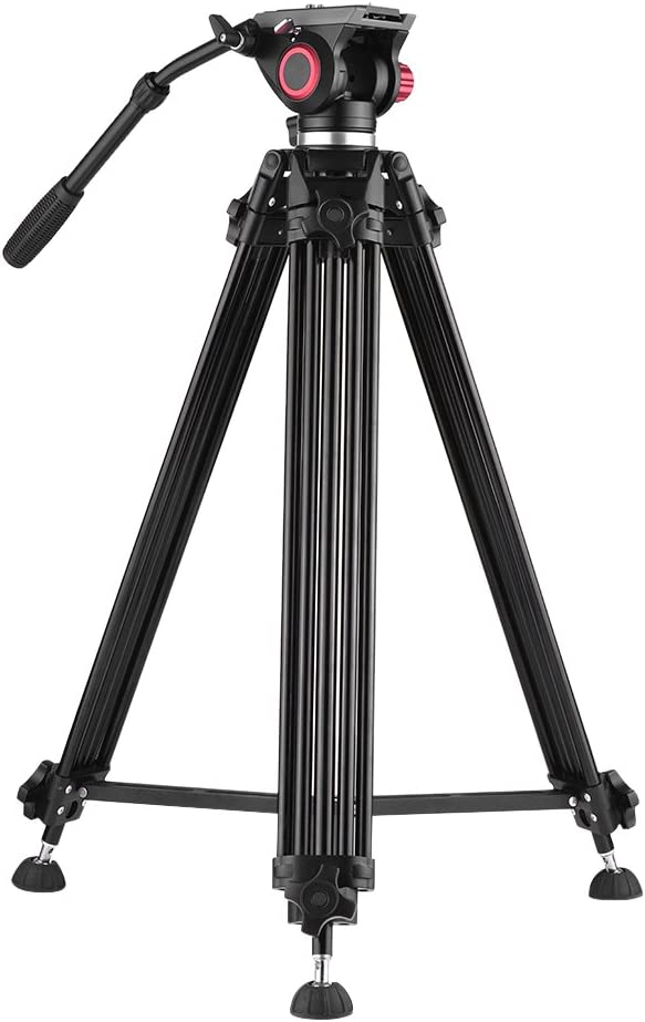 Andoer Professional Aluminum Alloy Video Tripod with Panorama Fluid Hydraulic Head for Canon Nikon Sony DSLR ILDC DV Camera Max Height 176cm Max Load Capacity 10kg with Nylon Storage Bag