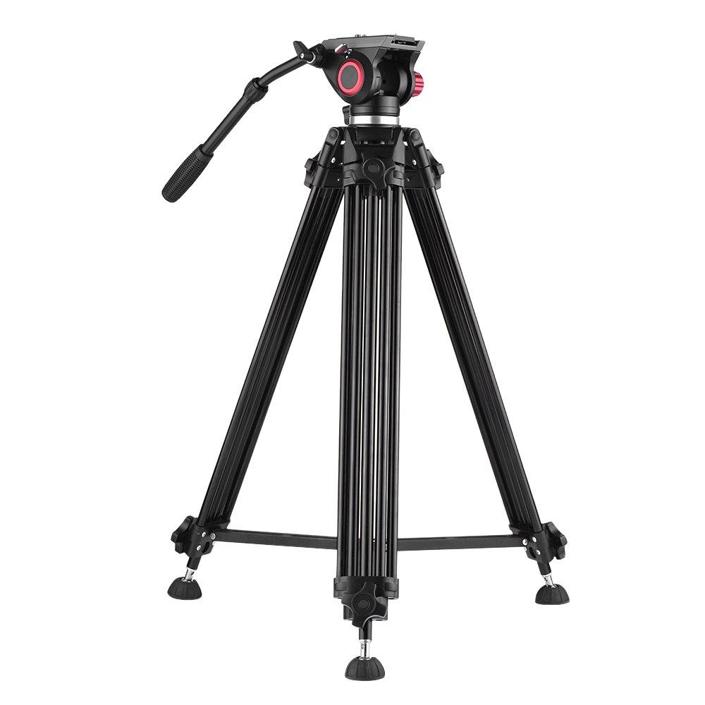 Andoer アルミ合金ビデオ三脚パノラマヘッドCanon Nikon SonyDSLR ILDC DV用176cm荷重容量10kgナイロン収納袋付き   B076RRG9HB