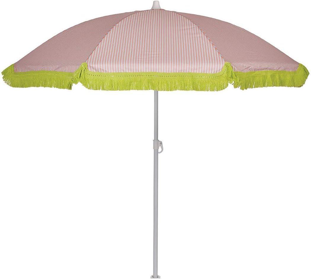 EZPELETA Sombrilla de Playa. Parasol de Playa. Ligero y Plegable de Acero. Paraguas Sol. Protección Solar UPF 50+. Diámetro 150cm. Estampado Flores/Cuadros/Rayas. Incluye Funda/Bolsa. - Rayas-Coral