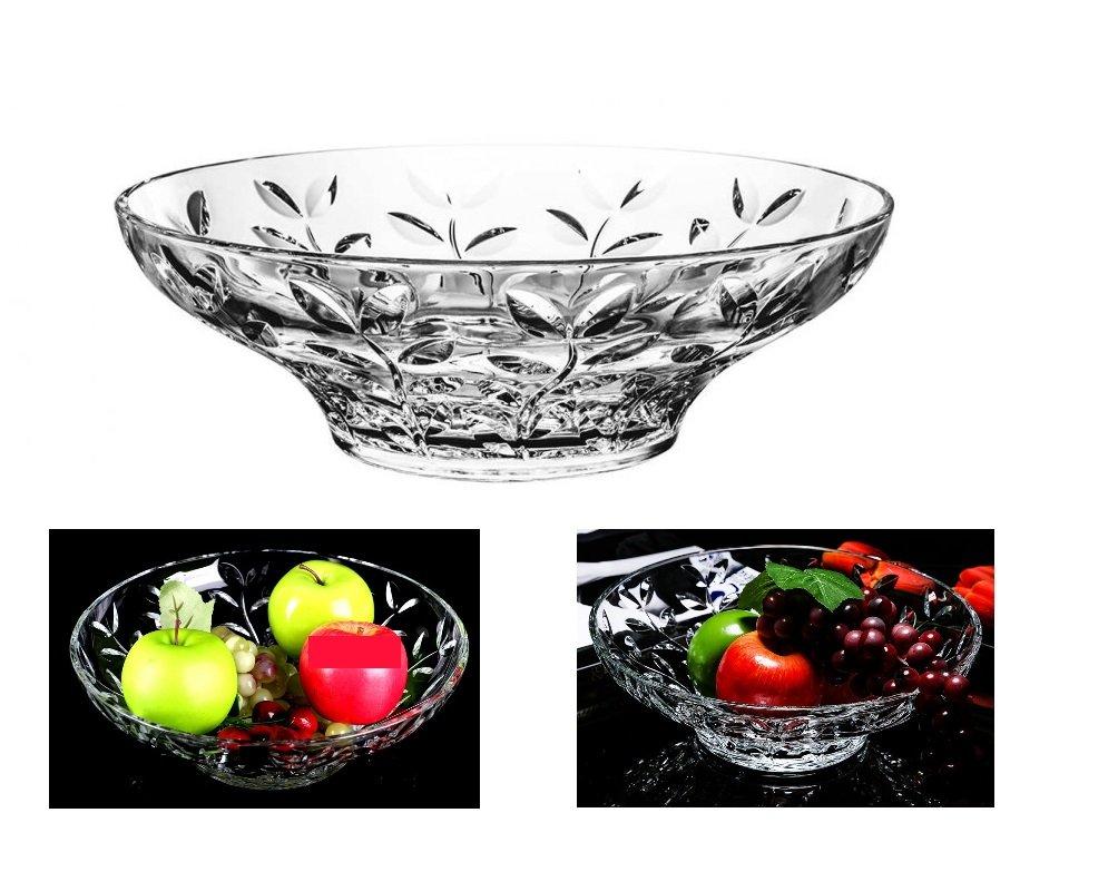 Elegant Crystal Round Bowl with Beautiful Leaf Design, Serving Bowl, Centerpiece for Home,Office,Wedding Decor, Fruit, Snack, Dessert, Server