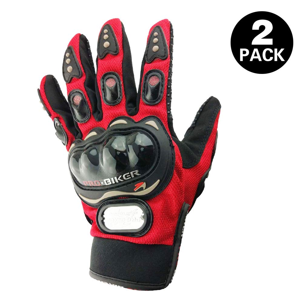Advanced Fabric Hard Knuckle Gloves Indoor Cycling Gloves Full Fingers Motorcycle Gloves Combat Gloves Paintball Gloves Shooting Gloves Tactical Gloves for Men Women Kids Youth,1 Pair(Red)