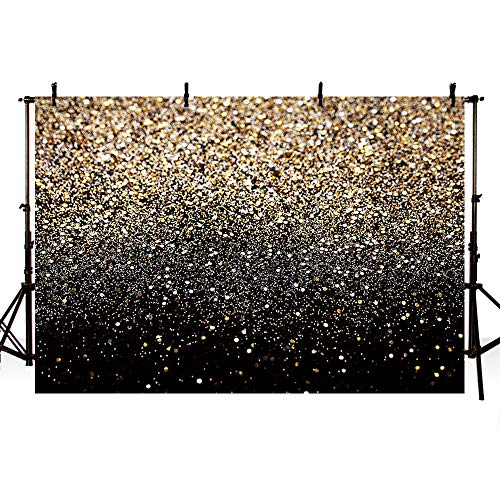 MEHOFOTO 7x5ft Gold Glitter Sequin Spot Black Prom Backdrops Starry Sky Shining Abstract Photo Background Birthday Party Banner Wedding Kids Newborn Photography Studio Props -