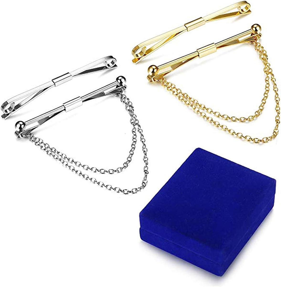 argent col Set de Krawattennadel col aiguille col Bar Collar broches piercingj 3/x Stylet Homme col broches avec cha/îne