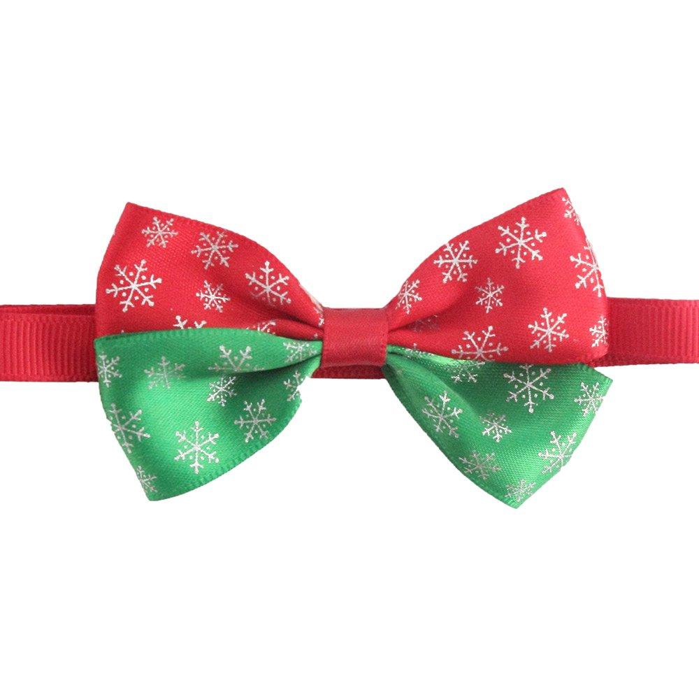 50PCs Dog Charm Collar Handmade Snow Bow Tie Merry Christmas Dress up Small Medium Dog