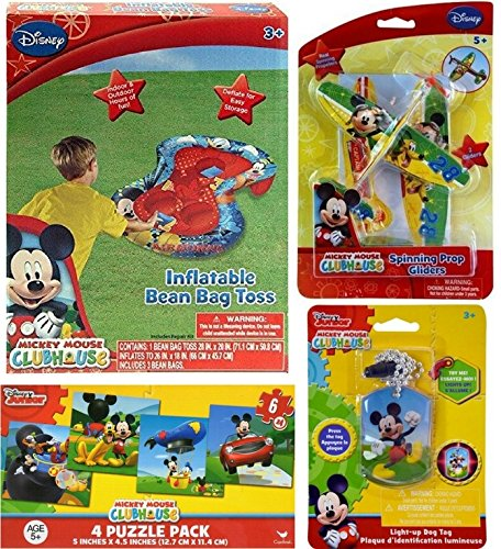 Mickey Mouse Clubhouse Toy and Game Gift Set with Bean Bag Toss, Light Up Dog Tag, 4 Puzzle Pack and Spinning Top Glider Planes