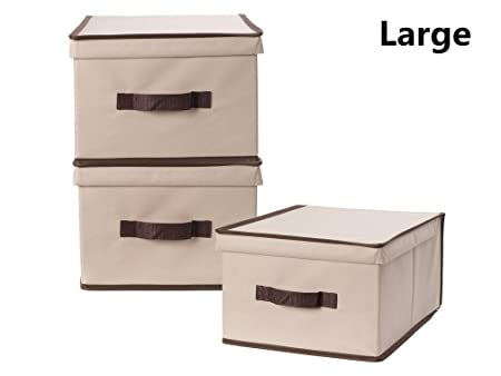 StorageManiac Foldable Polyester Canvas Storage Box, Convenient Storage Box  With Lid, Large, Pack
