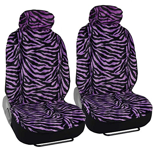 UPC 826942026331, UltraSoft Fleece Seat Covers for Car SUV - Front Set - Thick Faux Fur - Purple Zebra