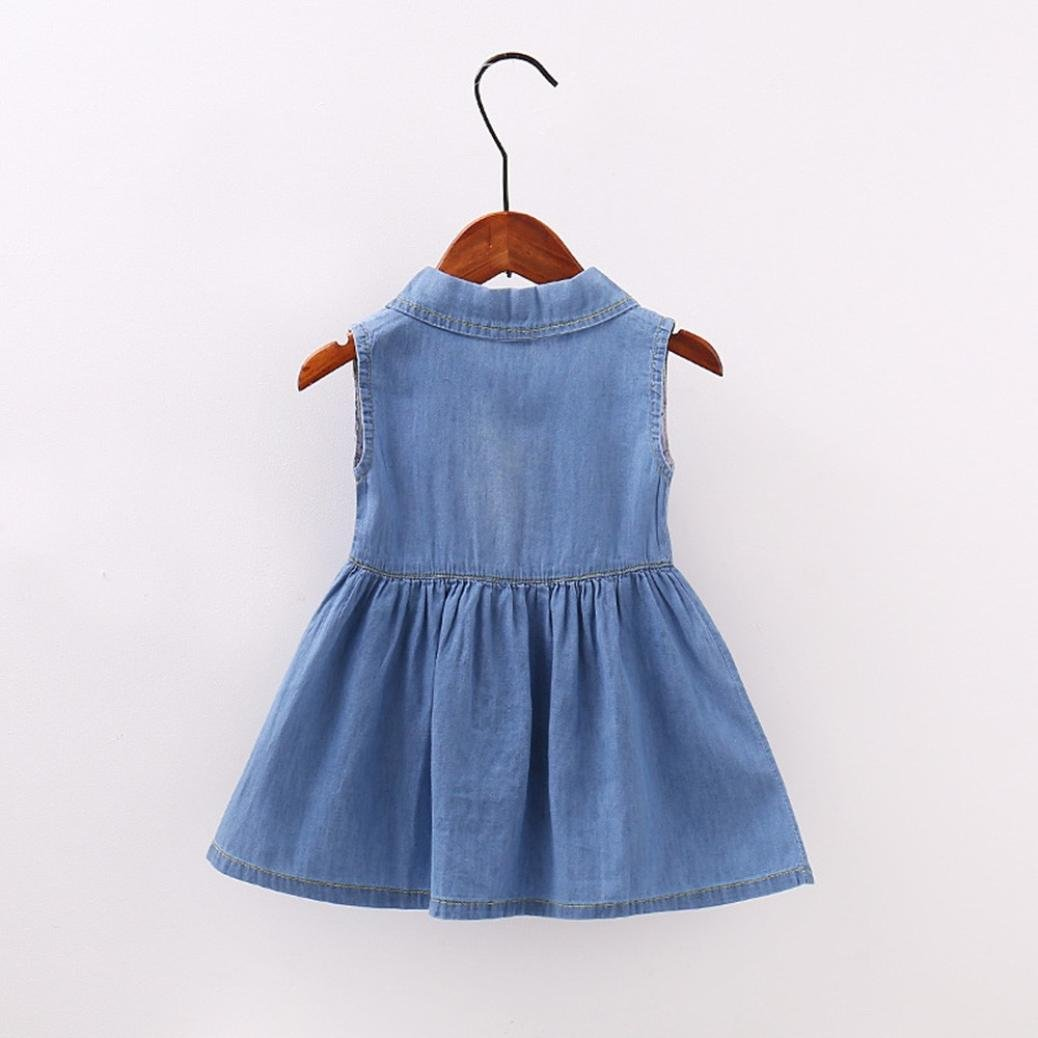 e6e2a725fca4 JYC Girl s Denim Style Belted Belted Dress Newborn Toddler Baby ...