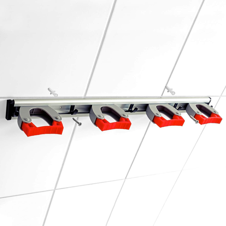 3 45cm GARLAVIE Ger/ätehalter mit 4 Haltern /& 5 Haken ● flexible Besenhalterung mit robusten Schnellspannern ● Premium Besenhalter//Klemmhalter f/ür mehr Ordnung ● vielseitige Ger/äteleiste