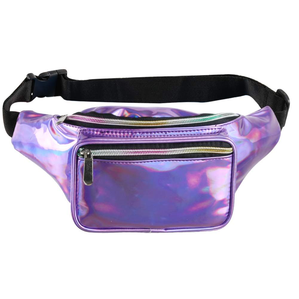 Fotociti Holographic Fanny Pack- Fashion Rave Waist Bag with Adjustable Belt for Women and Men (Holographic Purple) by Fotociti