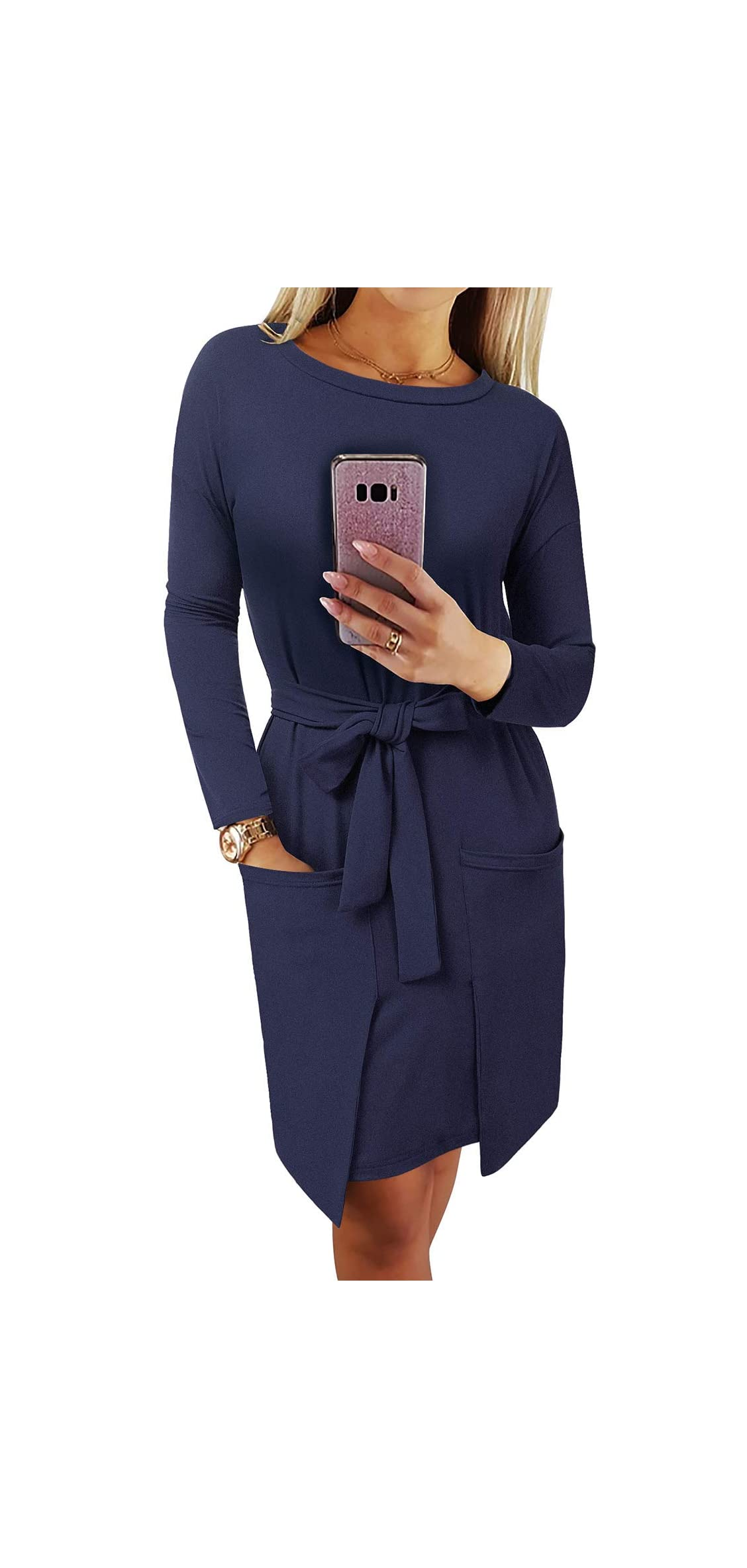 Women's Long Sleeve Pockets Midi Dress Casual T Shirt