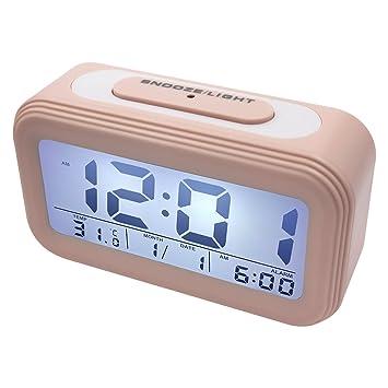 EASEHOME Despertadores Digitale, Reloj Despertador Digital con Pantalla LCD Calendario Temperatura Despertador Electrónico Silencioso para