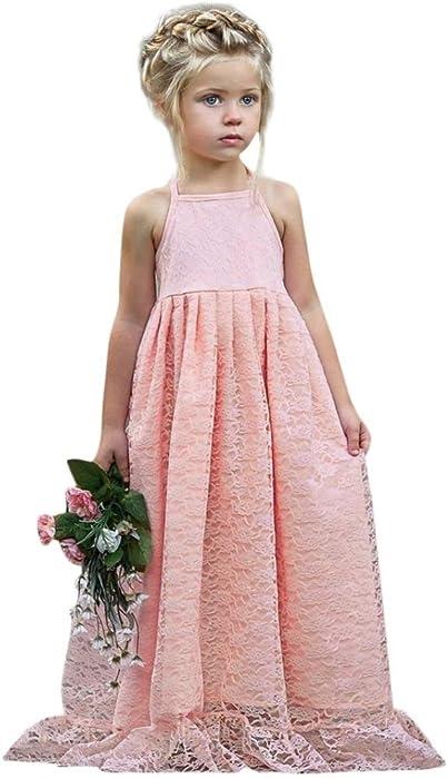 f70c5f0e4d4d BYSTE Bambino Ragazze Pizzo Fiori Senza Schienale Vestito da Principessa  Tutu Sling Dress Lungo