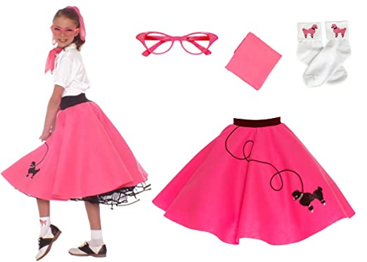 Hip Hop 50s Shop 4 Piece Child Poodle Skirt Costume Set Size Small Hot Pink