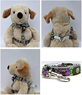 "product image for Diva-Dog 'H'Owl' Custom 5/8"" Wide Grape & Avocado Dog Step-in Harness with Plain or Engraved Buckle, Matching Leash Available - Teacup, XS/S"