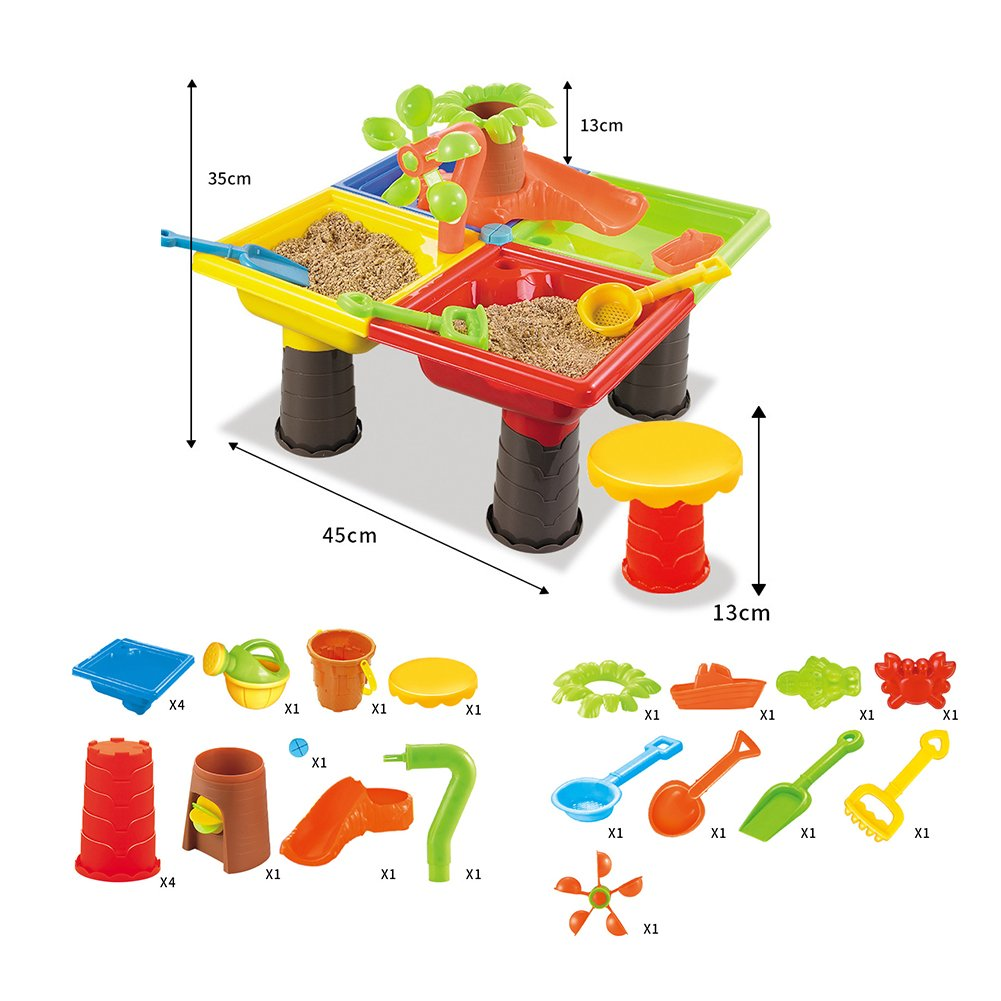 1 Set Children Beach Table Sand Play Toys Set Baby Water Sand Dredging Tools Color Random Beach Table【9826-color Box】 Play Sand Toys