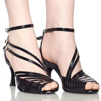 XUE Damen Latin Schuhe/Salsa Schuhe Ballsaal Schuhe Sandale Ferse Tanzschuhe Stilettos Heel Party  Abend schwarz...
