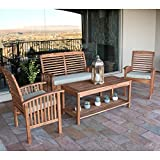 Walker Edison Solid Acacia Wood 4-Piece Patio Chat Set