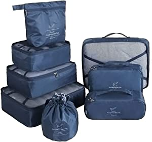 Packing Cubes for Travel 8 Pcs Luggage Organizer Set Travel Cubes with Waterproof Shoe Bag (Navy blue)
