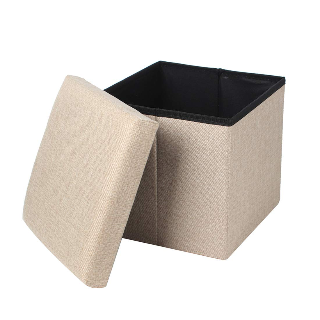 Queiting Folding Storage Ottoman Storage Box Seat Cube Single Seat Bench with Removable Lid Grey
