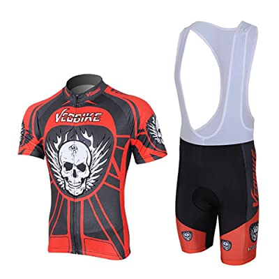 LSERVER Men's Breathable Short Sleeve Cycling Jersey Quick Dry Biking Shirts +3D Pad Shorts For Outdoor Sports …