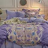 New Fashion 60S 100% Cotton Bedding Set,Purple Mandala Luxury 1 Duvet Cover 1 Flat Sheet 2 Pillowcases,American Bedding Decor,NO Comforter (King, Color 12)