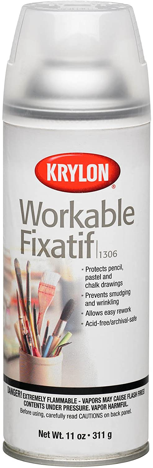 Krylon K01306 Workable Fixatif Spray Clear, 11-Ounce Aerosol,Matte