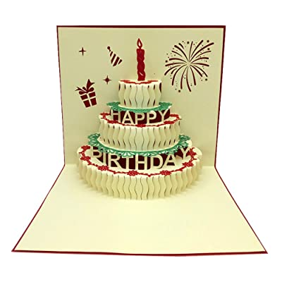 BB67 3D Pop Up Cards Valentine Lover Happy Birthday Anniversary Holiday Greeting Cards Gift for Friends Family Lover